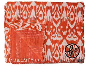 Cotton Kantha Quilt Ikat Print Gudari All Color Bedding Blanket Twin/ King Throw