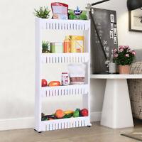 3/4 Tier Removable Kitchen Trolley Rack Holder Storage Shelf Organizer Wheels US
