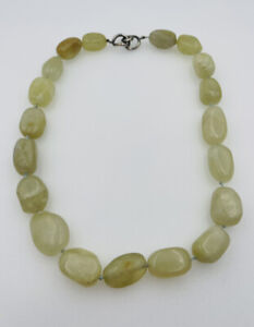 Angela Cummings Vintage Sterling Silver Clasp Green Quartz Beaded Necklace
