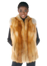Womens Real Red Fox Fur Vest Natural