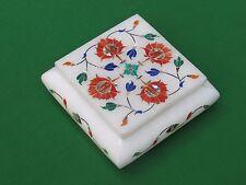 Jewelry Box Pietra dura Inlay Arts White Alabaster Stone Handicraft and Gift