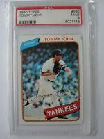 1980 Topps New York Yankees #690 TOMMY JOHN PSA 9 Mint Baseball Card