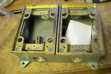 Thomas & Betts 842-SC 2-Gang Cast Iron Shallow Floor Box Brass Trim
