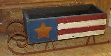 Patriotic Country Christmas Sleigh Sled USA Primitive Rusty Handmade