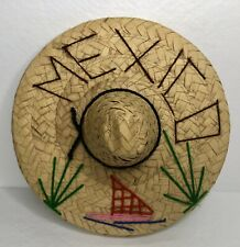 """Mexican Sombrero Small 8"""" Straw Wall Art Mexico Decor Baby Or Doll Hat"""