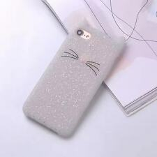 Hot Cute Bearded Cat Cartoon Soft Silicon Case Cover Back Fit For iPhone Samsung