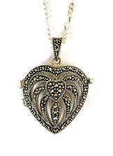 Marcasite Heart Locket Pendant Necklace, 925 Sterling Silver Heart Hallmarked