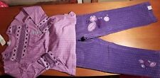 NEW Naartjie Purple Pinny Dot Short Tunic Top & Pinny Spot Cord Pants Sz 5