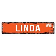 SWNA0003 LINDA AVE Street Chic Sign Home Store Shop Wall Decor Birthday Gift
