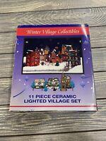 Vintage 11 Pc Ceramic Lighted Christmas Village Set Winter Village Collectible