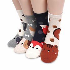 (4 Pairs) Long Tails Animal Socks Women Kids Junior Girls Red Fox Puppy Shoes JC
