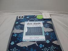 Dot & Dash SHARK TANK Cotton Twin Sheet Set ~ Fish, Coral, Shark ~ Blue & Grey