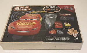 Disney Pixar Lightning McQueen  Cars 5 Wood Puzzles in wooden storage box