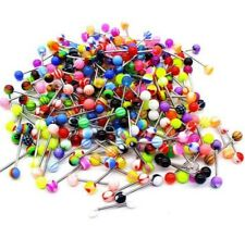 Lot 100pcs Tongue Navel Rings Mixed Color Stainless Barbell Wholesale NEW