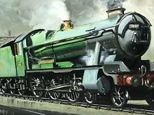 Fine Art Oil Painting Railwayana Steam Locomotive Train Engine County Bucks 1001