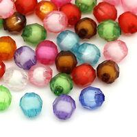 300 Mix Rund Böhmen Facettiert Acryl Spacer Perlen Beads Bicone 8mm New~