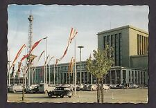 Posted 1960 (UK stamp) view of cars parked in the exhibition grounds, Berlin