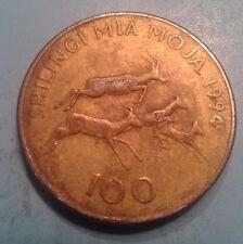 Tanzania 100 Shilingi antelope 24mm Brass plated Steel Coin AU-UNC