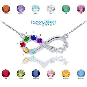 #1 MOM Sterling Silver Infinity Necklace 6 CZ Birthstones Variations Your Choice