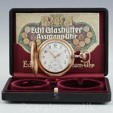 Julius Assmann Glashütte Große Louis XV. Taschenuhr Savonette 1909 14k Gold Box