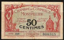 Billet 50 Centimes. Chambre de Commerce de Montpellier. France, 1921