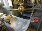 Antique Brass Ceiling Fixture Chandelier, 2 Light, Rewired, opalescent globes