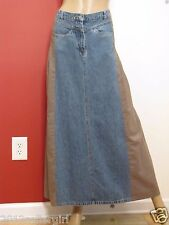 TOGETHER BLUE JEAN & BROWN COTTON LONG MAXI BOHO PLEATED DENIM SKIRT SZ 12