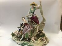 ANTIQUE GERMAN PORCELAIN GROUP HUGE CHERUB LARGE VOLKSTEDT FIGURINE C1760