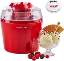 Andrew James Ice Cream Maker 1.5L - Sorbet & Frozen Yogurt Machine - Red