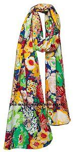 Women Fashion Long Soft Cotton Floral Print Scarf Wrap Shawl Large Scarves Stole