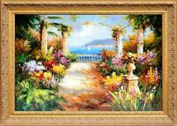 Framed Oil Painting On Canvas, Signed Beautiful Mediterranean View Landscape
