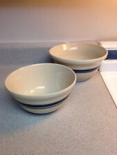 Roseville  Pottery Mixing Bowls Set Of 2 FP USA Blue Stripe 2qt And Other