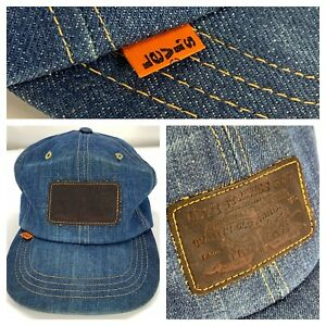 Vintage 1970s Levis Denim Leather Patch Orange Tab Strapback Hat Dark