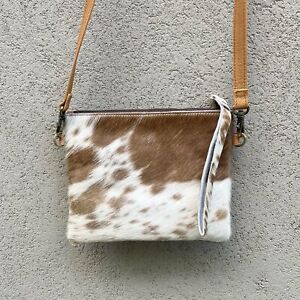 Bella Cowhide Crossbody Clutch Bag - Tan White
