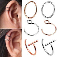1Piece 20G Ear Cuff Ear Clip Nose Ring Earring Stainless Steel Nose Hoop