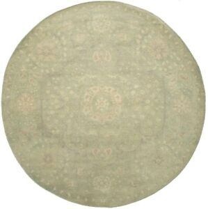 Transitional Floral Hand-Knotted 8X8 Muted Green Oriental Round Rug Decor Carpet