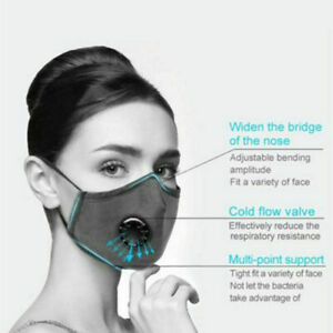 Face Mask Filters Valve Washable Reusable PM2.5 Anti Air Pollution Mouth Shield