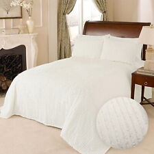 100% Cotton Tufted Chenille Stripe Bedspread Bedding Twin Full Queen King, White