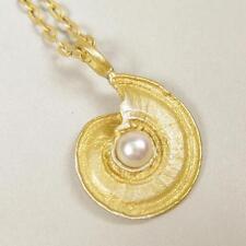 Pendant Necklace with White Pearl Unique Michael Michaud Silver Seasons Nautilus