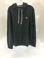 ABERCROMBIE & FITCH MENS TERRY ICON HOODIE CHARCOAL MEDIUM NWT