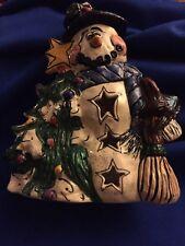 2001 Heather Goldminc Blue Sky Clayworks Snowman Christmas Tree Tea Light