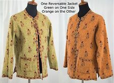 Reversible Spring Jacket Asian Influence Orange and Olive Green Ladies Sz XL