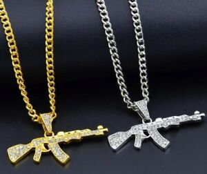 ICED GOLD or SILVER AK47 MACHINE GUN PISTOL CHAIN PENDANT NECKLACE RIFLE BLING