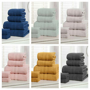 100% Cotton 500gsm Camden Stripe Luxury Bathroom Towels Sheets - 2pc OR 6pc