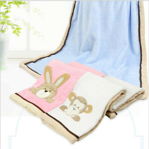 Newborn Baby Boys Girls Fleece Comfort Warm Cartoon Blanket Bedding Cot Crib BS