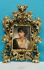 KPM GERMAN HAND - PAINTED PORCELAIN PLAQUE IN ROCOCO GILT WOOD FRAME