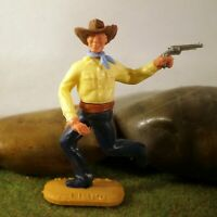 Timpo Toys Made in GT.Britain Steckfigur beweglich Cowboy mit petrolblauen Hosen