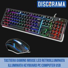 TASTIERA GAMING MOUSE LED RETROILLUMINATA ILLUMINATA KEYBOARD PC COMPUTER USB