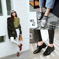 Vintage Women Lace Up Brogues Classic College Oxford Low Heels Shoes