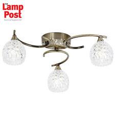 Saxby Endon Lighting BOYER-3AB 3 Light Antique Brass Semi Flush Ceiling Light